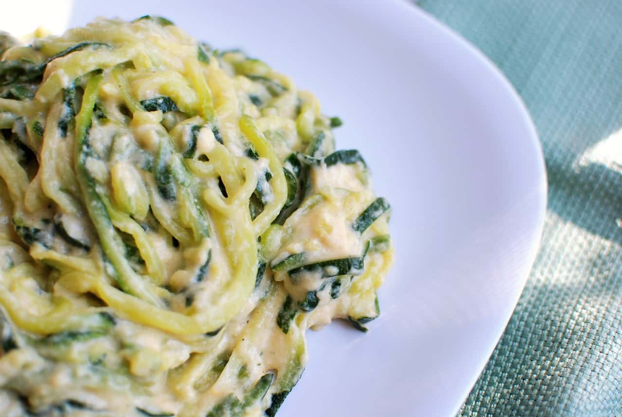 Close up of zoodle macaroni and cheese