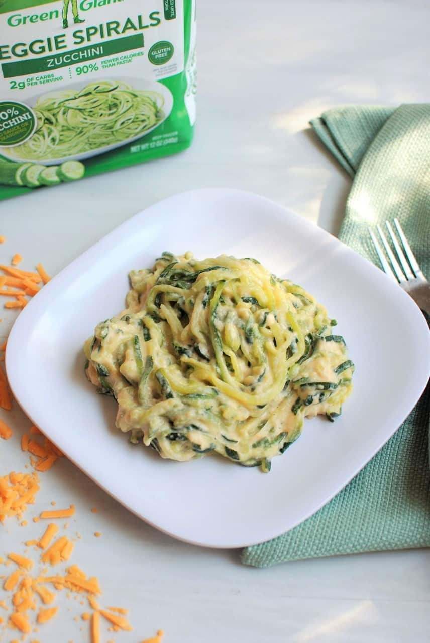 Zucchini noodle mac and cheese on a white plate