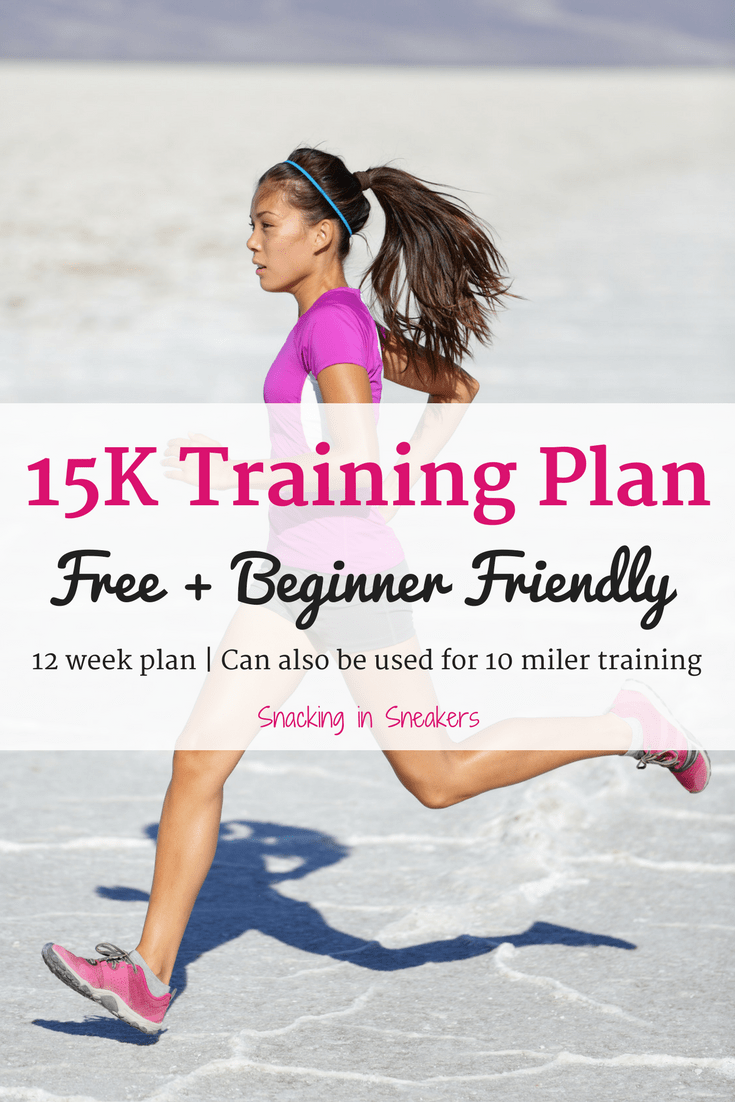 Female running outside with a text overlay that says 15K training plan