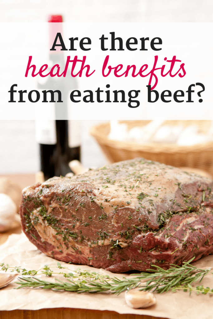 Beef roast with rosemary and garlic, and a text overlay about health benefits of beef