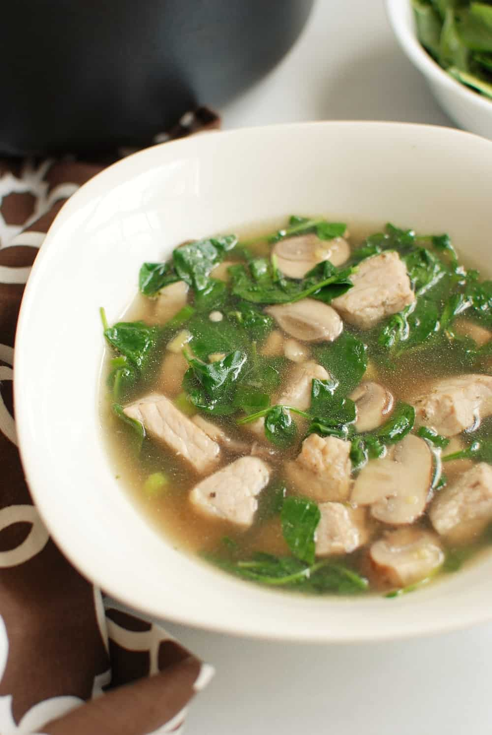 Bowl of pork watercress soup