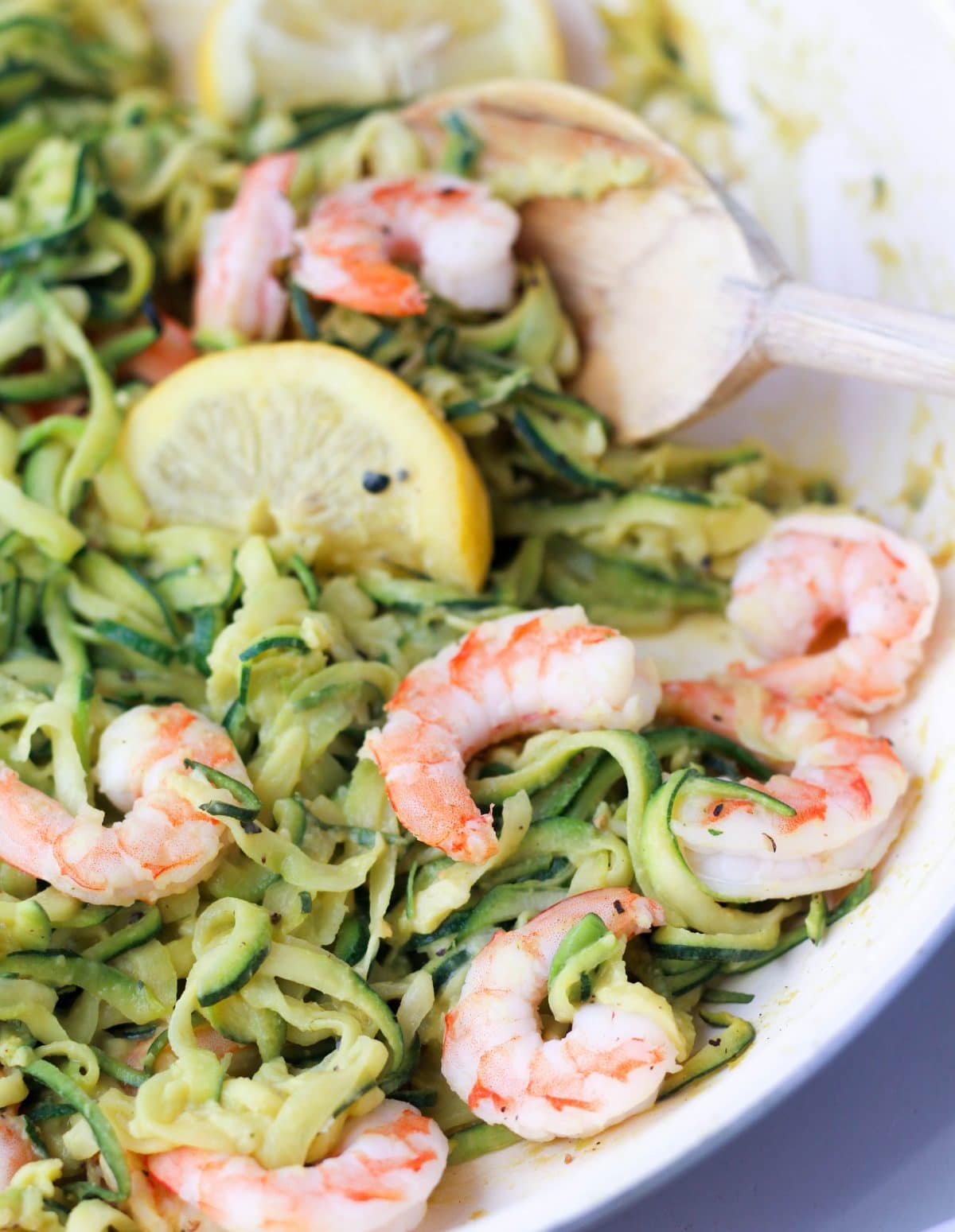 Zoodles with Creamy Lemon Shrimp