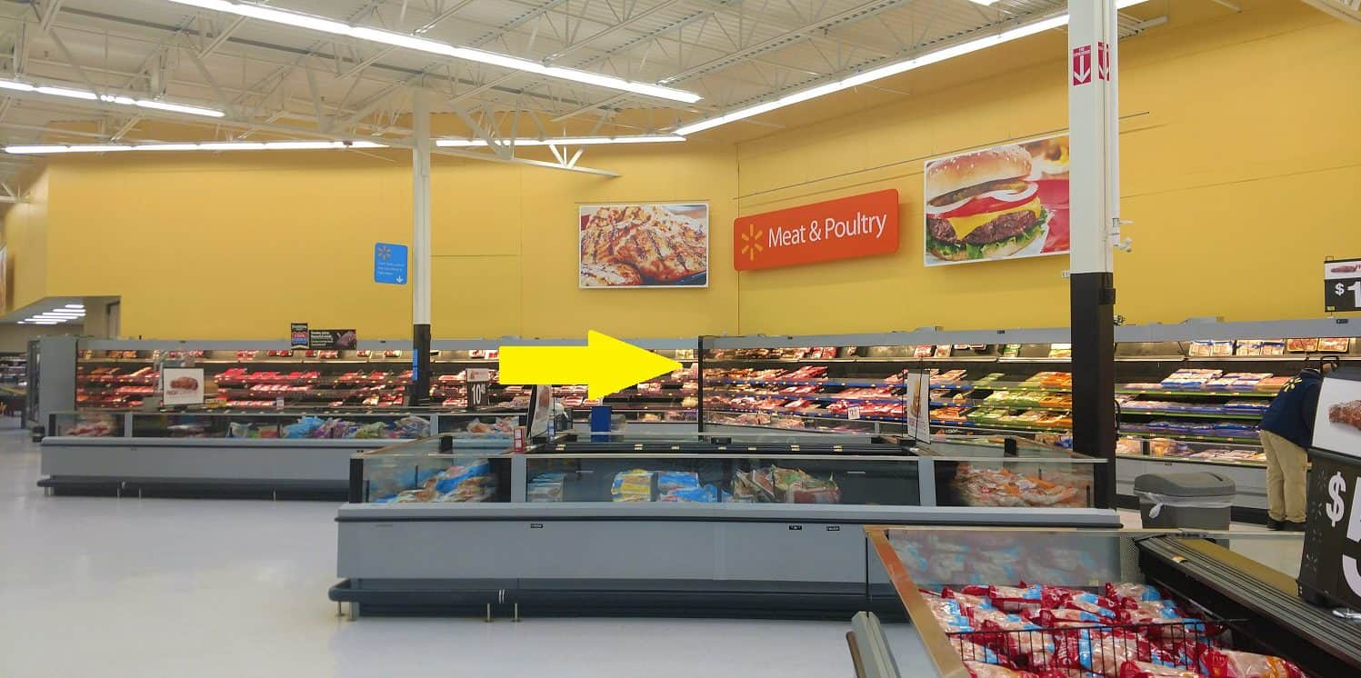 Meat and poultry section of Walmart