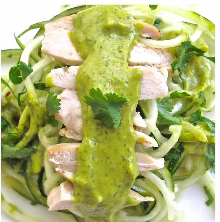 Avocado Sauce with Chicken and Zoodles