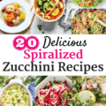 Collage image of several spiralized zucchini recipes