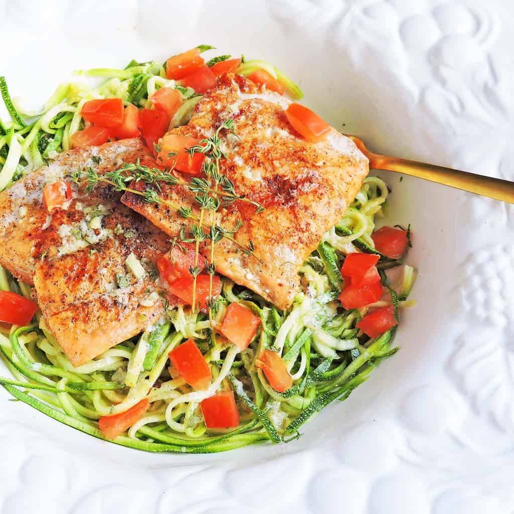 Tomato Garlic Salmon with Zucchini Noodles