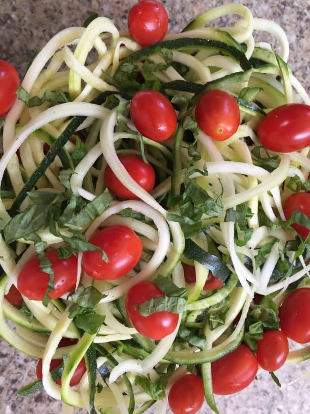 Zoodle Basil Tomato Salad