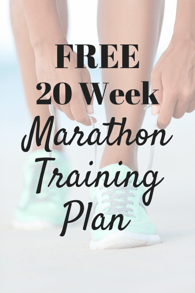 A woman's running sneakers with a text overlay that says 20 week marathon training plan