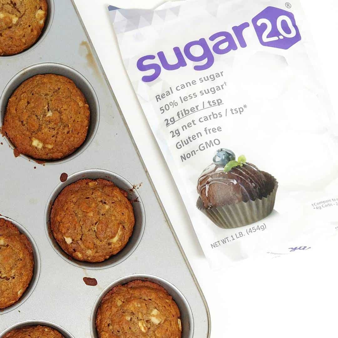 Sugar 2.0 next to a pan of muffins