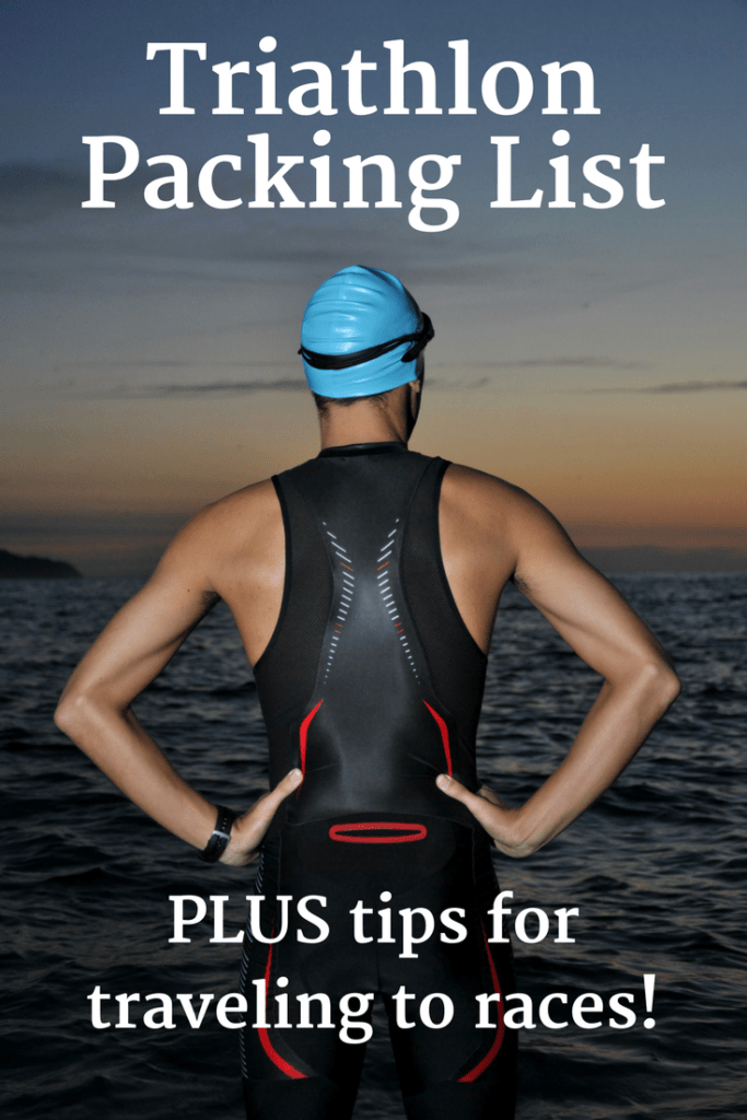 Triathlete standing by water with a text overlay that says triathlon packing list