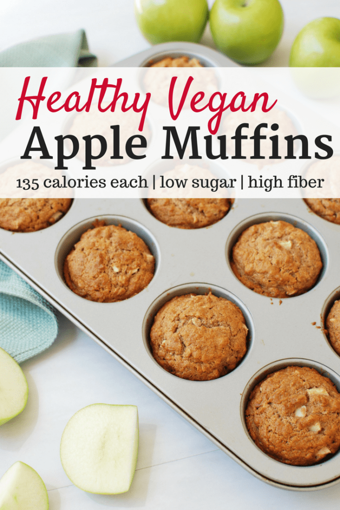 Vegan apple muffins in a muffin tin next to apples