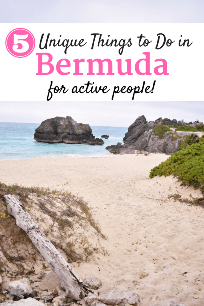 Beach in Bermuda with text overlay about unique things to do in bermuda