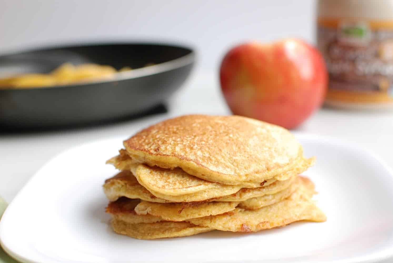 low carb protein pancakes on a white plate