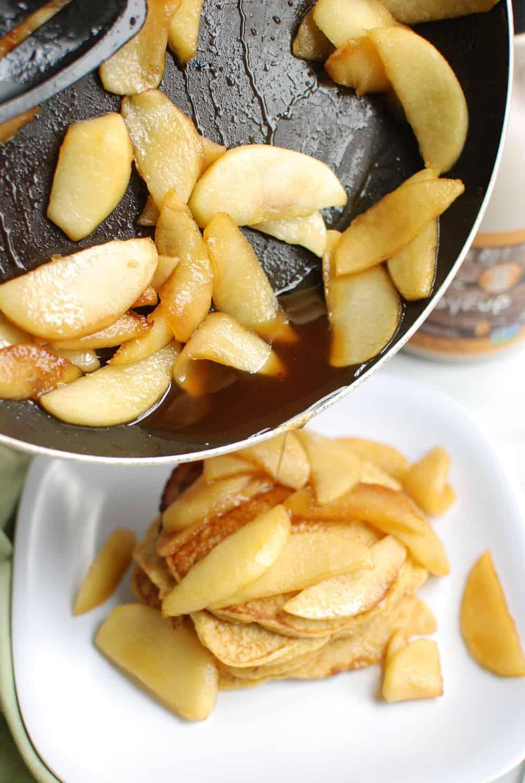 Apple pancake topping in a pan
