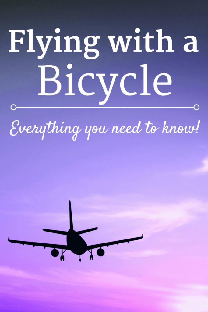 Airplane in a sunset with a text overlay about flying with a bike