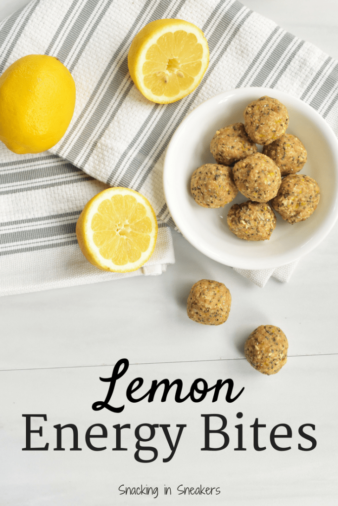 Lemon energy bites and lemons on a table