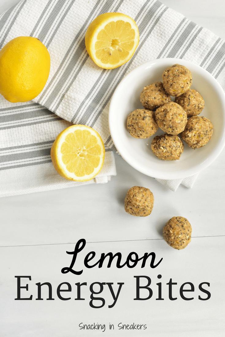 Lemon energy bites and lemons on a table