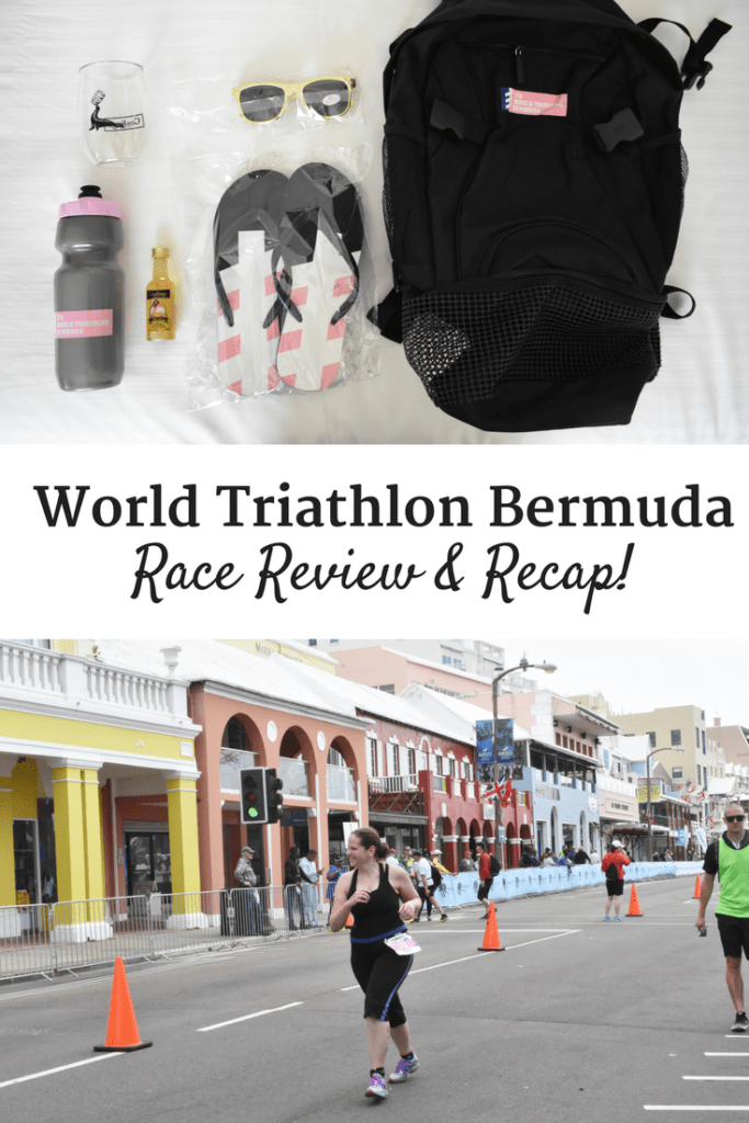 Race gear and a runner with a text overlay about World Triathlon Bermuda