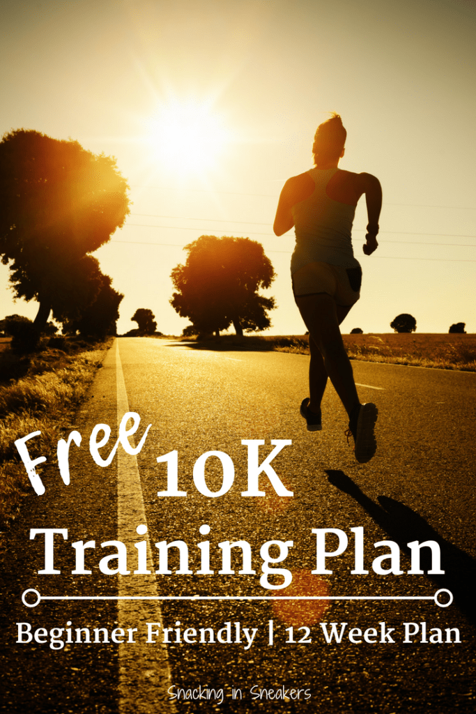 Silhouette of a runner in the sunlight with a text overlay about a 10K training plan