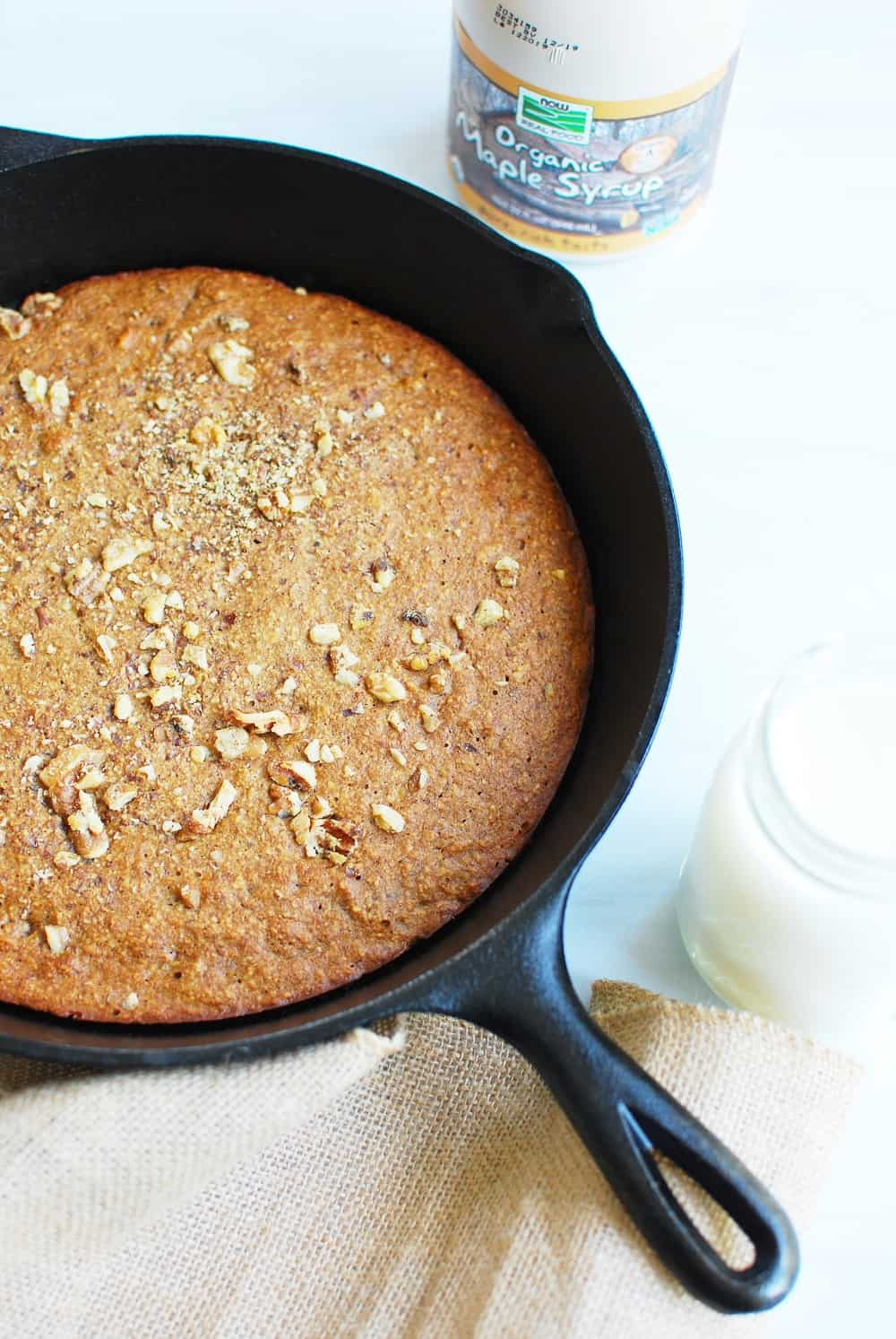 Gluten Free dairy free banana bread made in a cast iron skillet