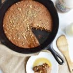 Cast iron banana bread in the skillet
