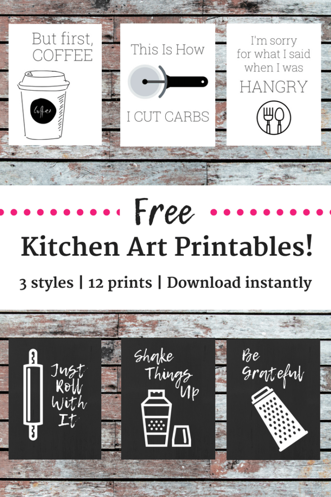 Several free kitchen printables in a collage