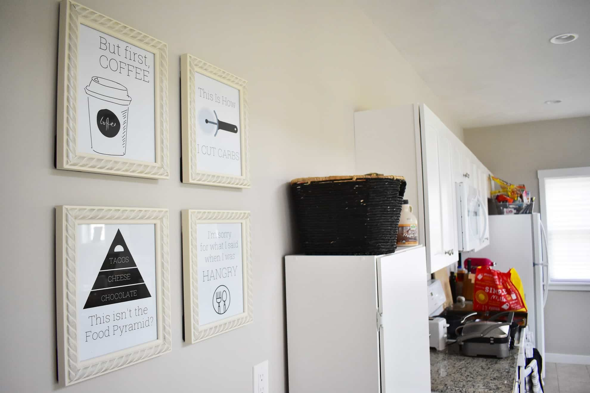 Kitchen Printables Hanging on a Wall
