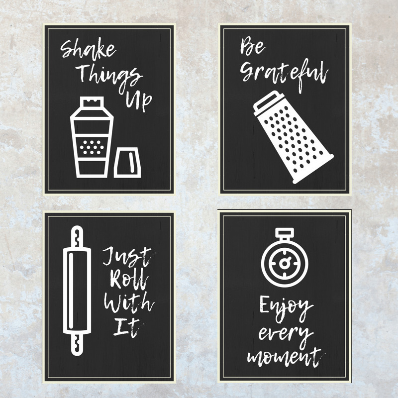 Set of four kitchen wall art printables
