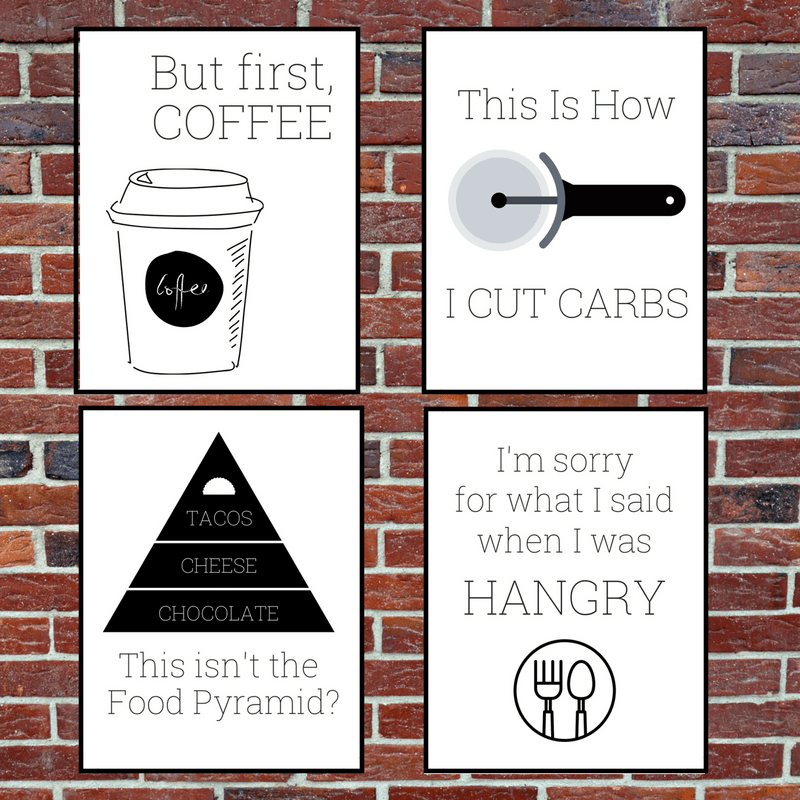 set of four free kitchen printables on a brick wall