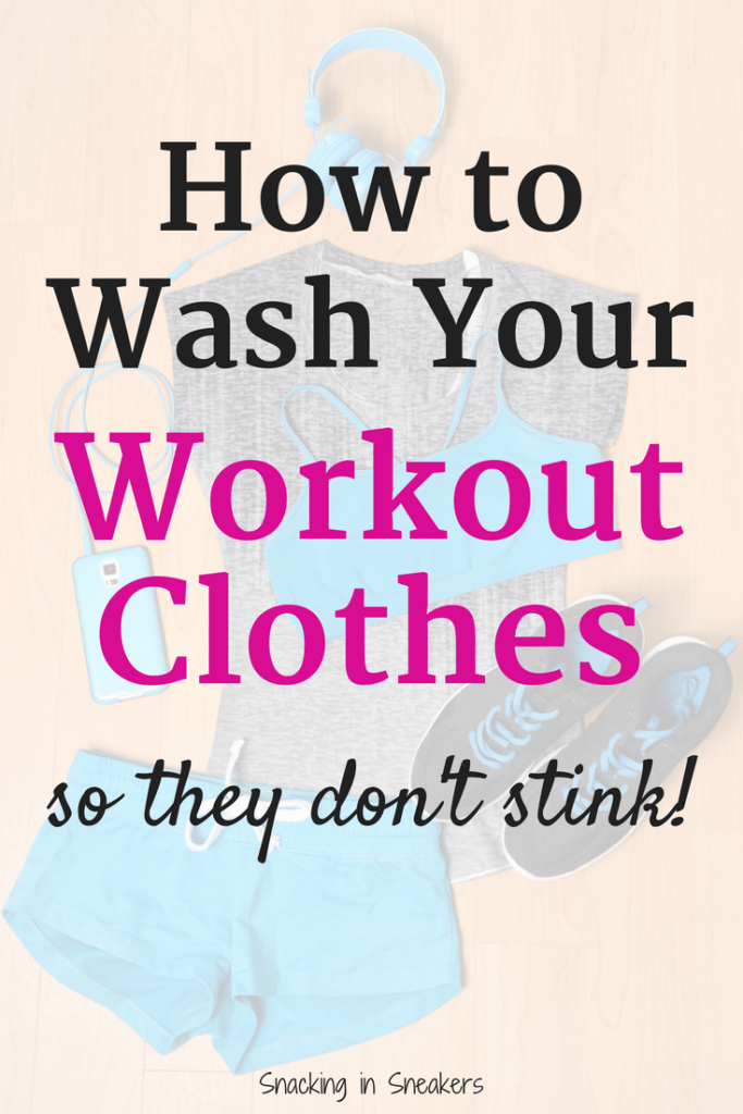 Workout clothes with a text overlay about how to wash them