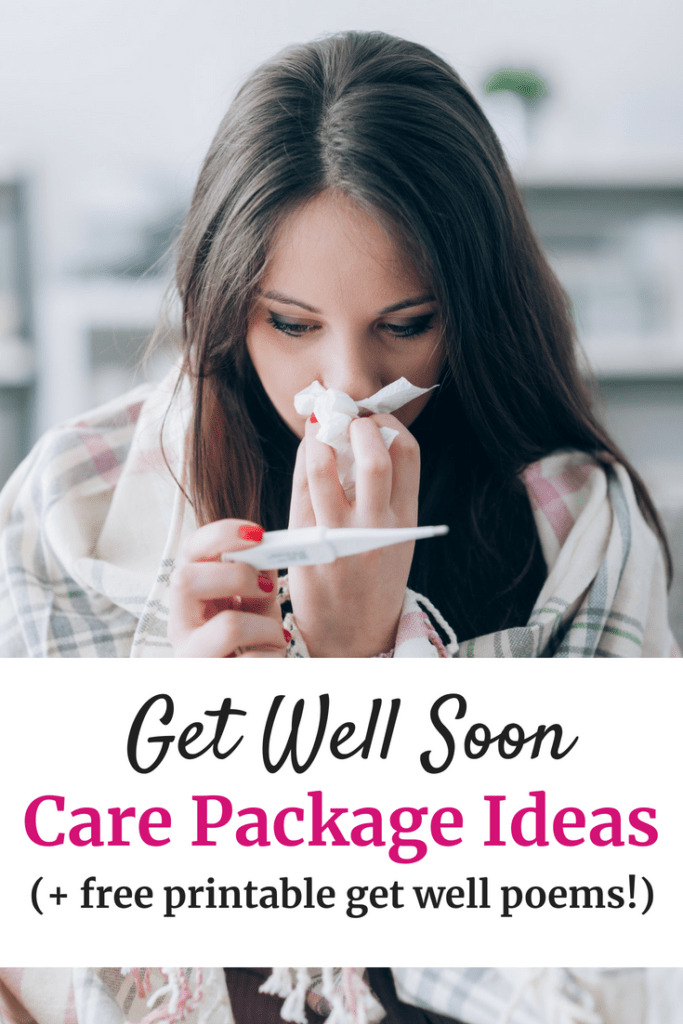 Sick woman with tissues with a text overlay about get well soon care package ideas