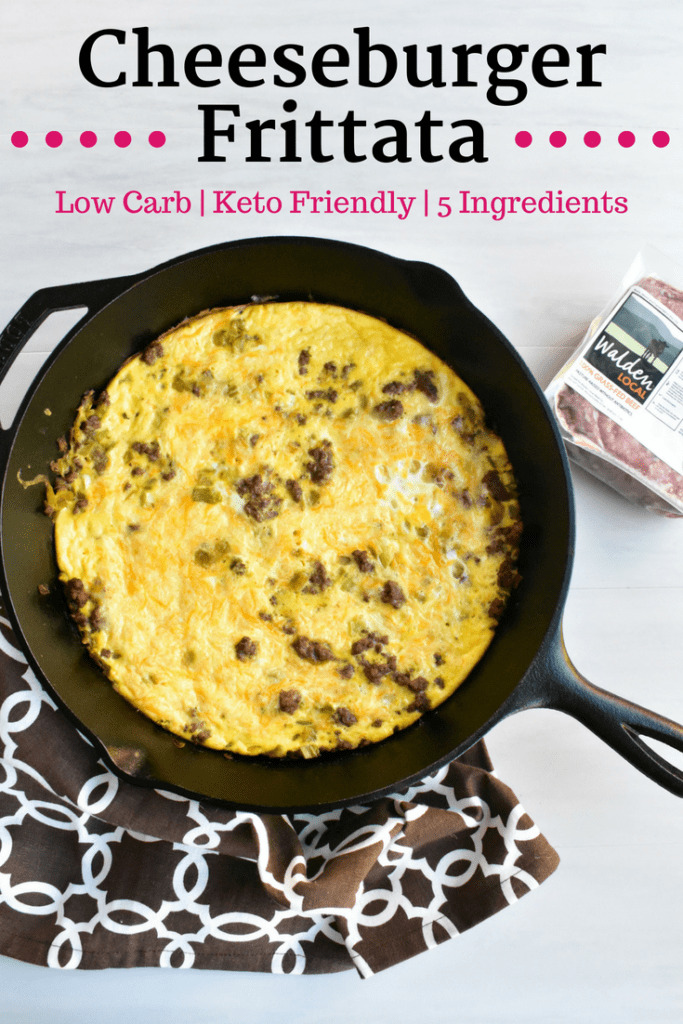 Cheeseburger frittata in a cast iron skillet