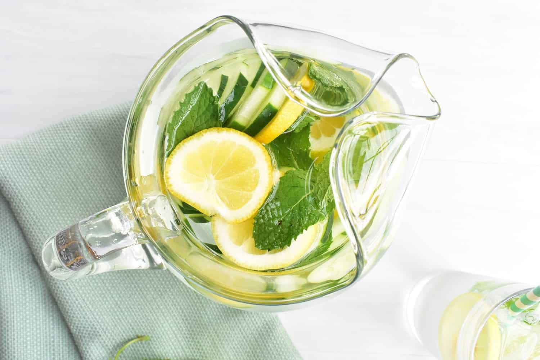 Pitcher of lemon mint cucumber water