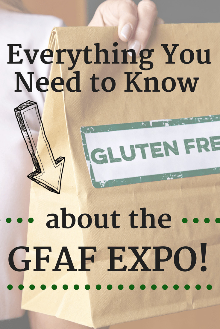Brown paper bag labeled gluten free with a text overlay about the GFAF expo