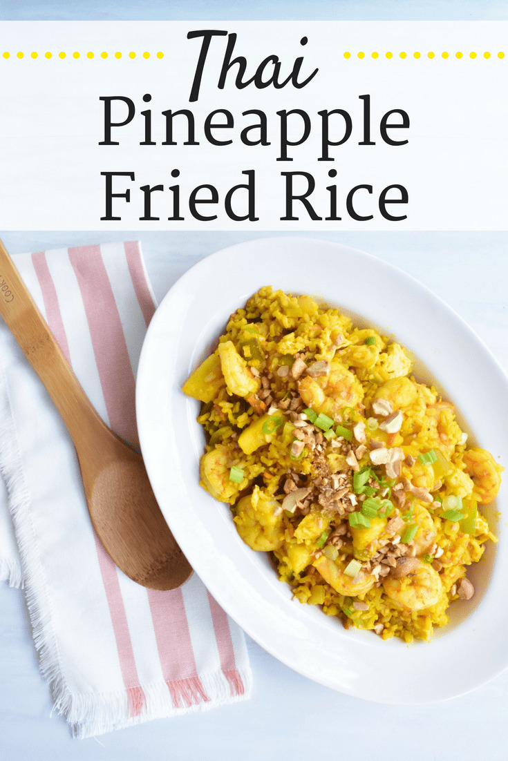 Large white bowl of thai pineapple fried rice