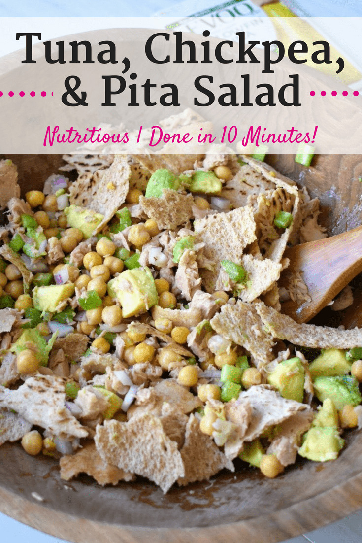 Bowl of chickpea tuna salad with avocado and pita