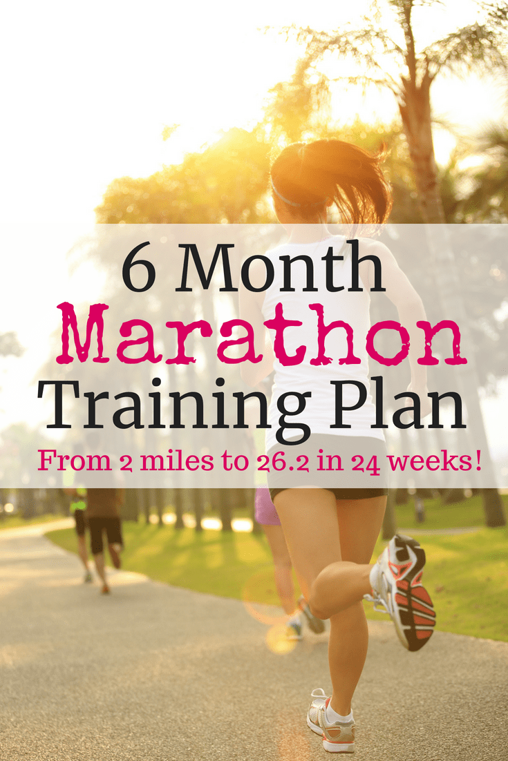 Female running outside with a text overlay for 6 month marathon training plan