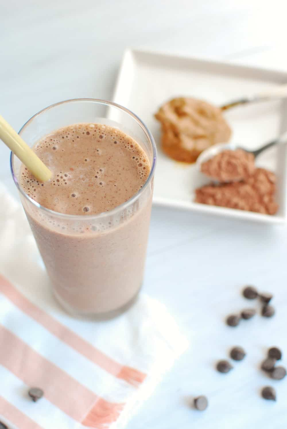 Glass full of cacao smoothie