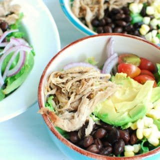 Bowl of carnitas salad with pork, tomatoes, corn, and beans