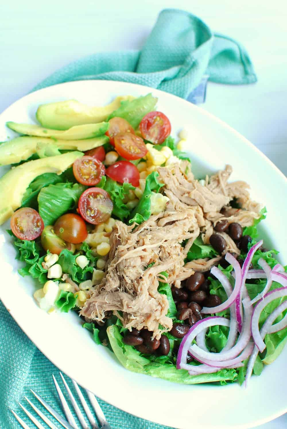 Big bowl of carnitas salad