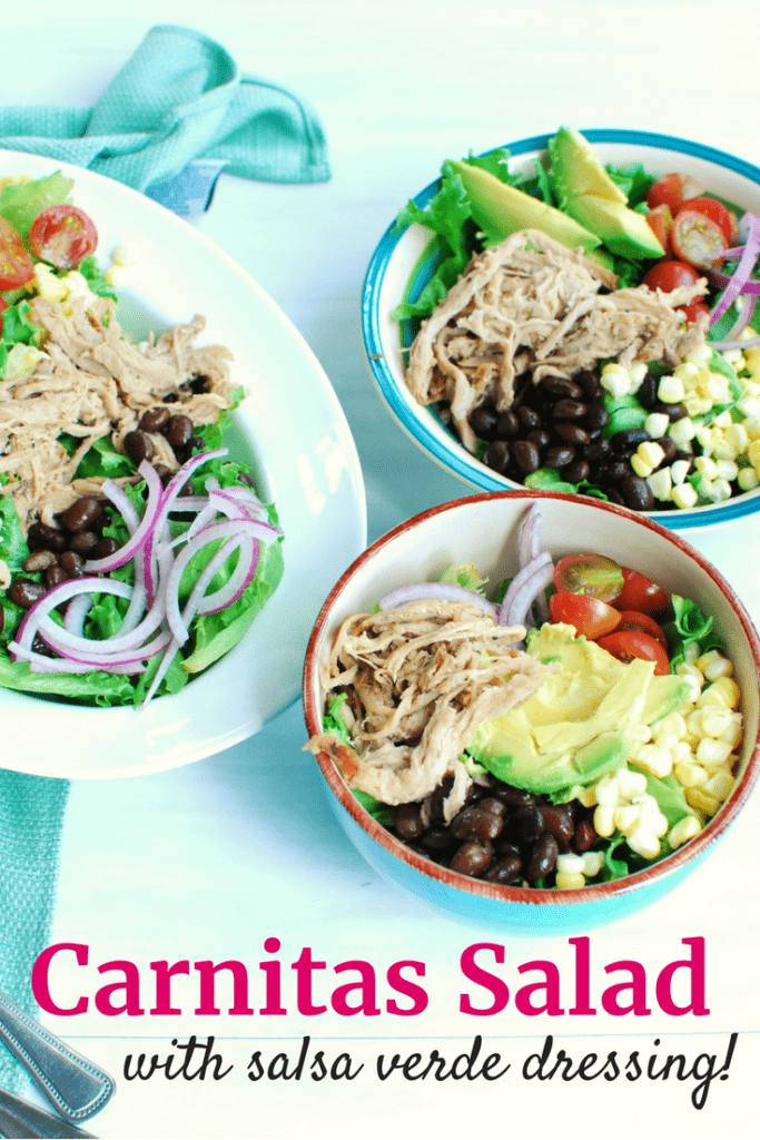 Bowls full of delicious carnitas salad