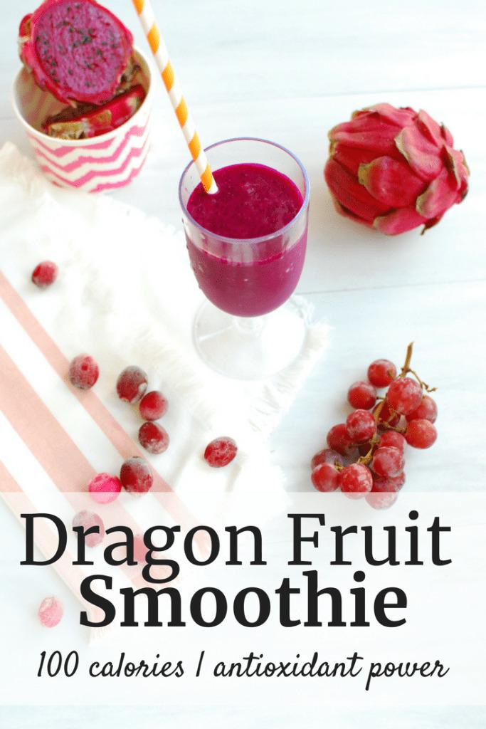 dragon fruit smoothie next to grapes, cranberries, and pitaya