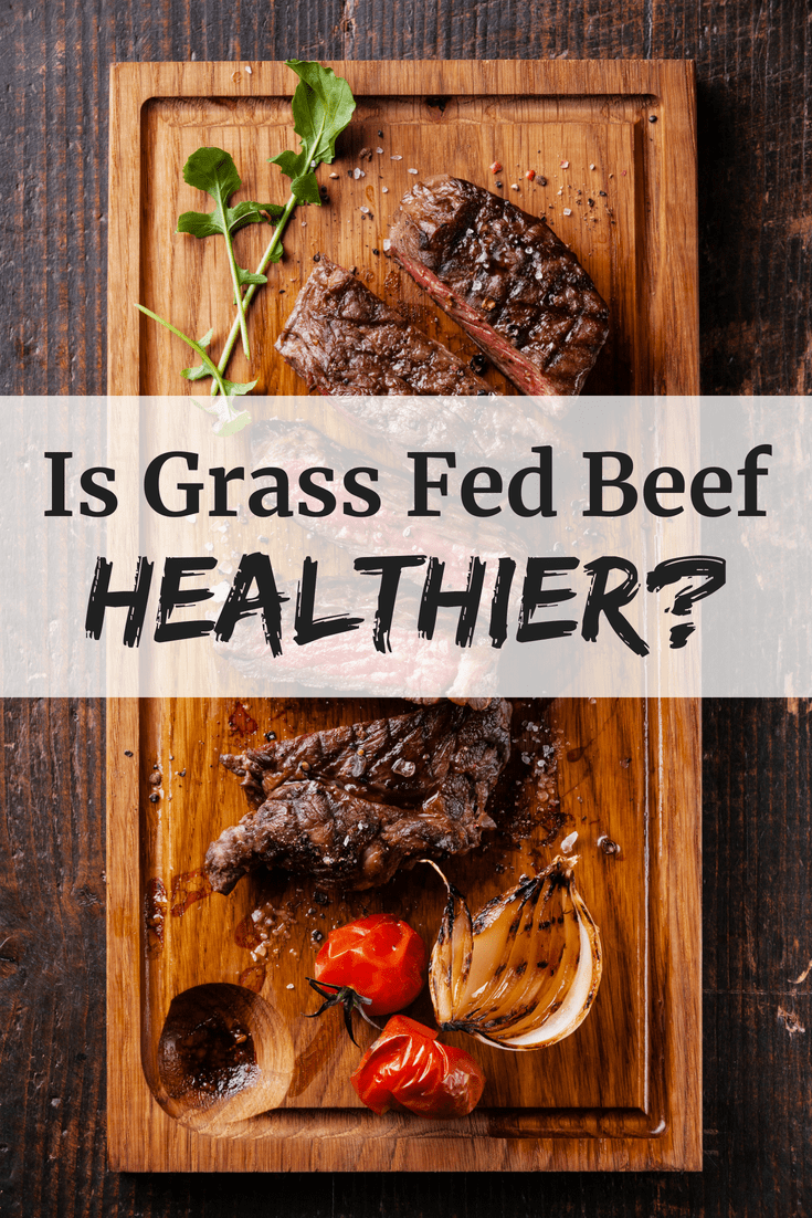 Sliced steak with a text overlay asking is grass fed beef healthier
