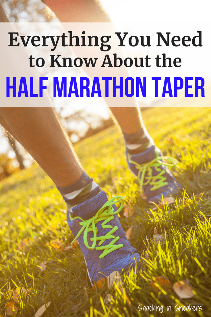 Photo of running shoes with a text overlay about half marathon taper