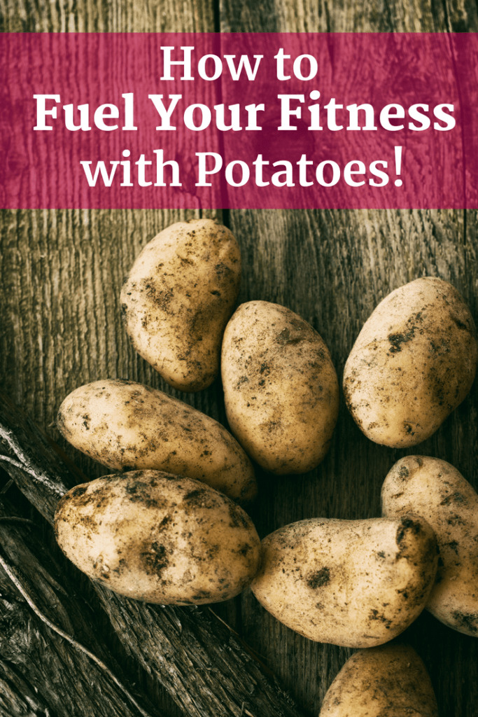 A bunch of potatoes with a text overlay about fueling fitness with potatoes