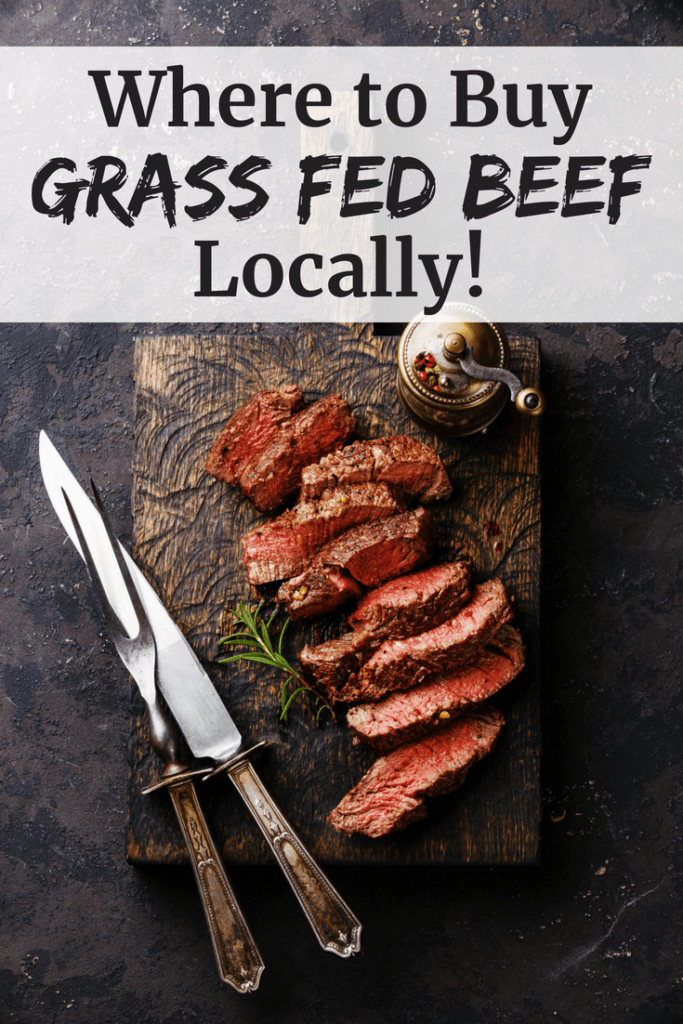 Sliced steak with a text overlay about where to buy grass fed beef locally