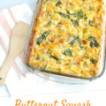 Large casserole dish filled with a butternut squash breakfast casserole