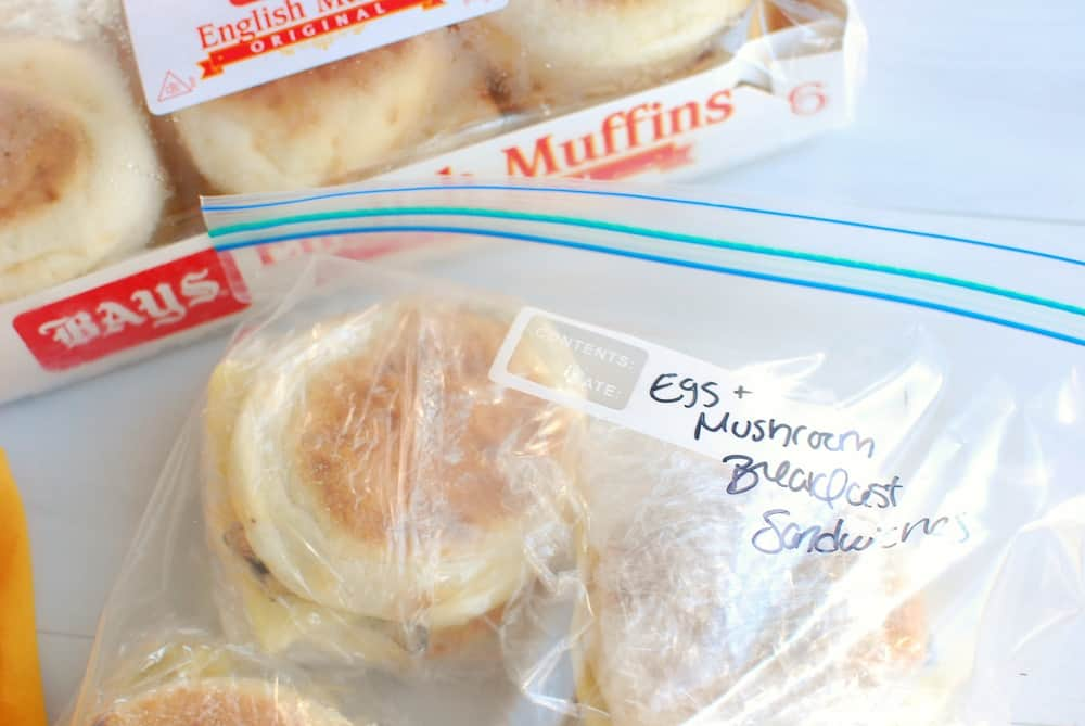 Make ahead breakfast sandwiches in a bag ready to go in the freezer