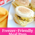 Freezer friendly meal prep breakfast sandwiches on a platter