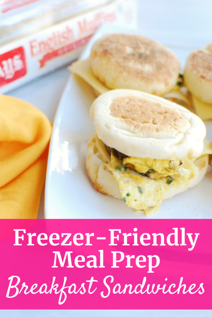 Freezer friendly meal prep breakfast sandwiches on a platter
